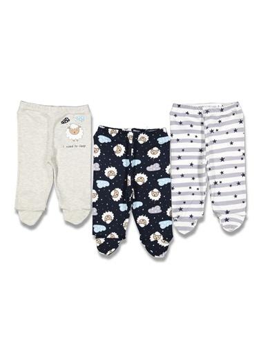 By Bebek Odam Yıldızlı Kuzu Desenli 3'lü Bebek Alt Pantolon Renkli